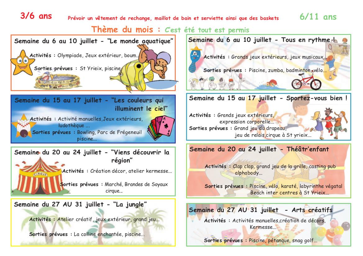 Activités Manuelles Centre De Loisirs 6 10 Ans centre de loisirs : programme des activités juillet 2015 – cscs/mjc